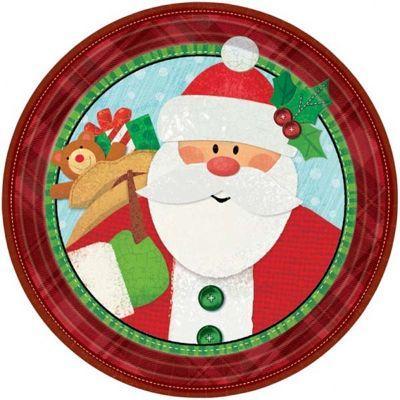 holiday paper plate santa