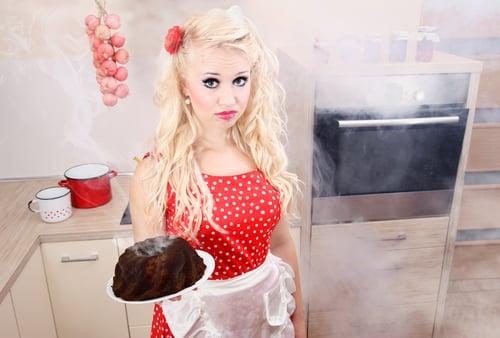 baking disaster blonde woman