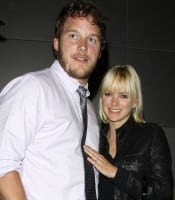 **EXCLUSIVE** Anna Faris and husband Chris Pratt are spotted after having dinner at XIV (14) by Michael Mina