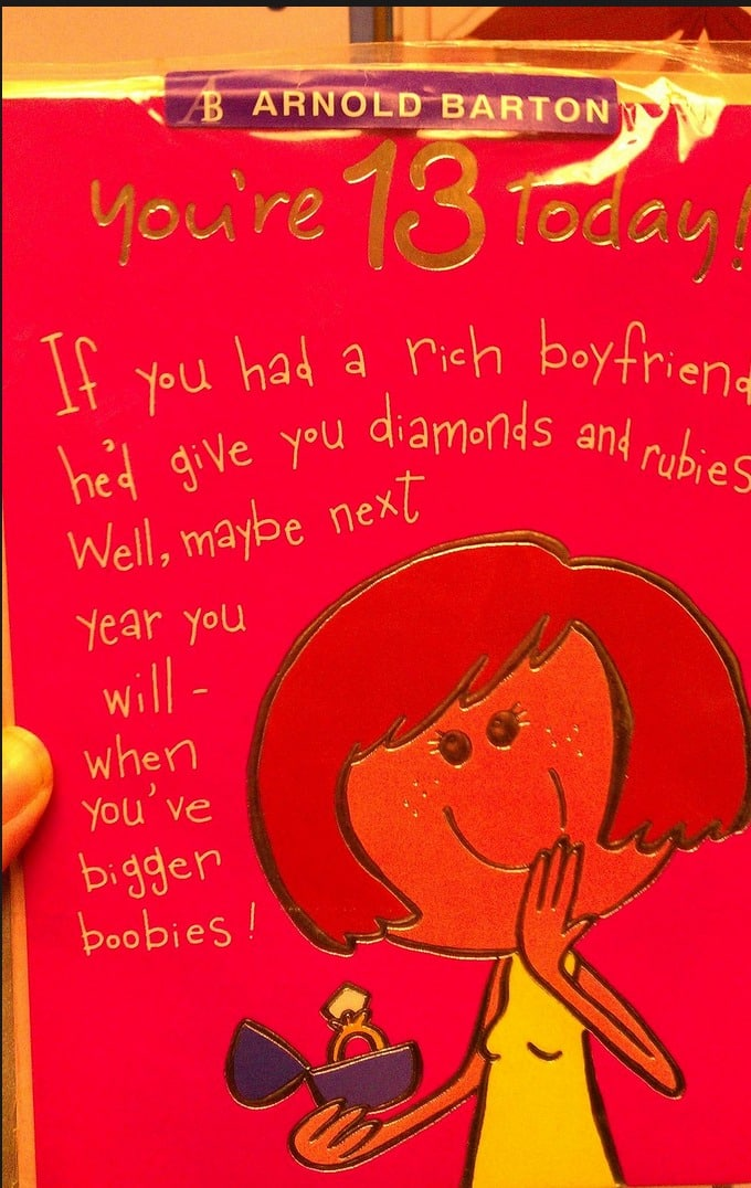 Birthday card for 13 year old girl stresses rich bfs diamonds boobs bookmarktalkfo Images
