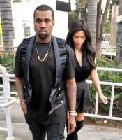 Kanye West and Kim Kardashian leaving Kung Pao Bistro in West Hollywood