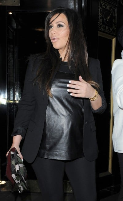 Pregnant Kim Kardashian leaving her hotel to go and watch Beyonce perform at the O2