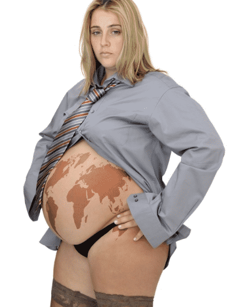 pregnant woman globe on belly