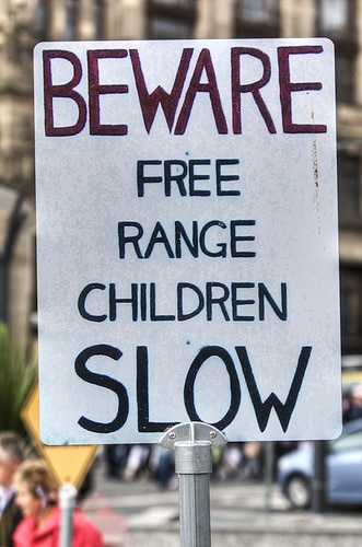 free range children sign