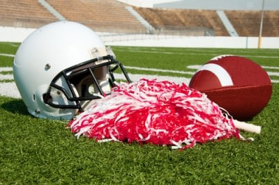 pom pom with football and football helmet