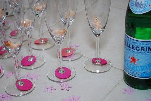 babies in champagne glasses