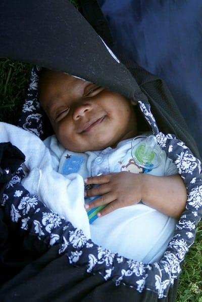 happily sleeping baby
