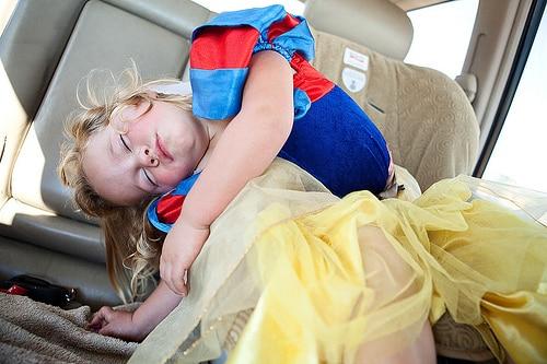 sleeping toddler car