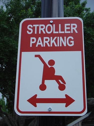 stroller parking sign