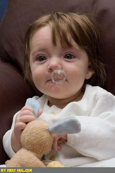 baby with snot bubble