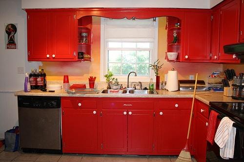 deep red kitchen