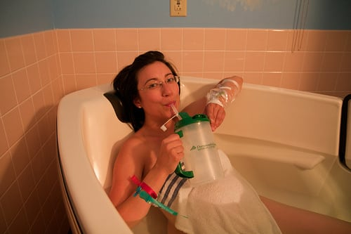 drinking in birthing tub