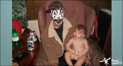 juggalo with baby and PBR