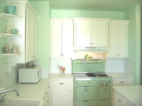 20 retro kitchens that i need in my house mommyish light green kitchen workwithnaturefo