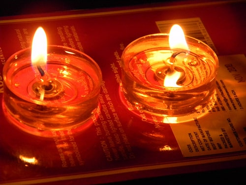 lit candles
