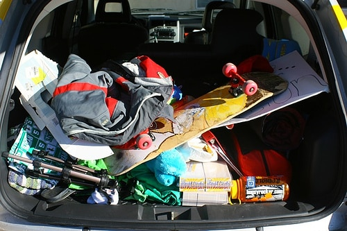 messy car trunk