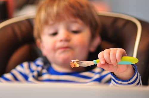 toddler with fork