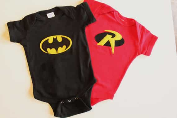 batman and robin onesie twins