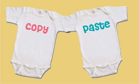 copy paste twin onesies