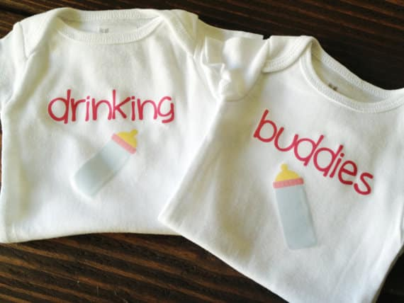 drinking buddies twin onesie