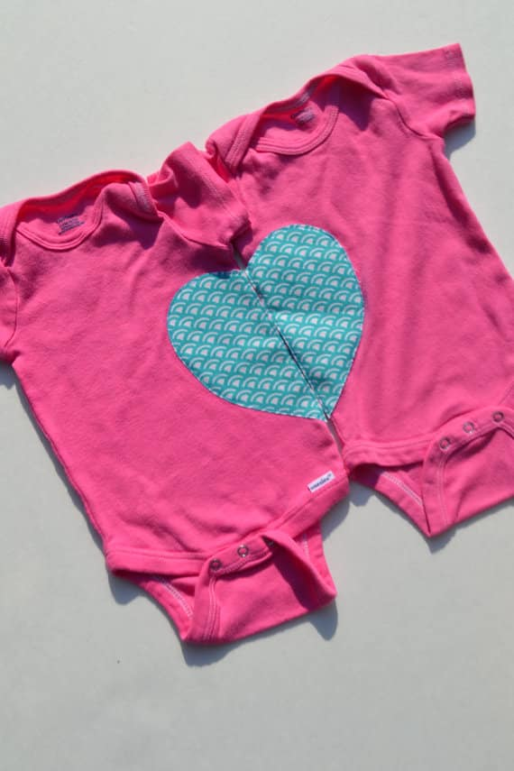 heart twin onesies