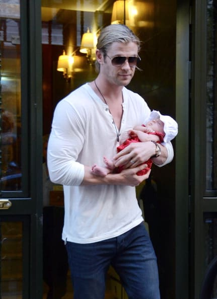 Chris Hemsworth, Elsa Pataky and Daughter India Rose Sighting In Madrid - July 02, 2012