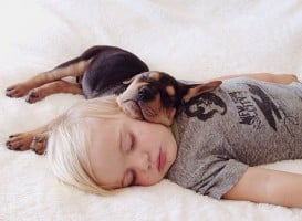 baby with a puppy napping