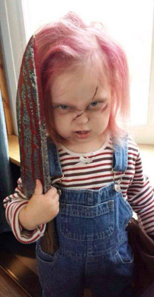 Besides the fact that this kid is totally adorable and I love her little scary face itu0027s just so silly. I donu0027t think this child is u201cperpetuating extreme ...  sc 1 st  Mommyish & Kids And Violent Halloween Costumes Are Not An Actual Problem