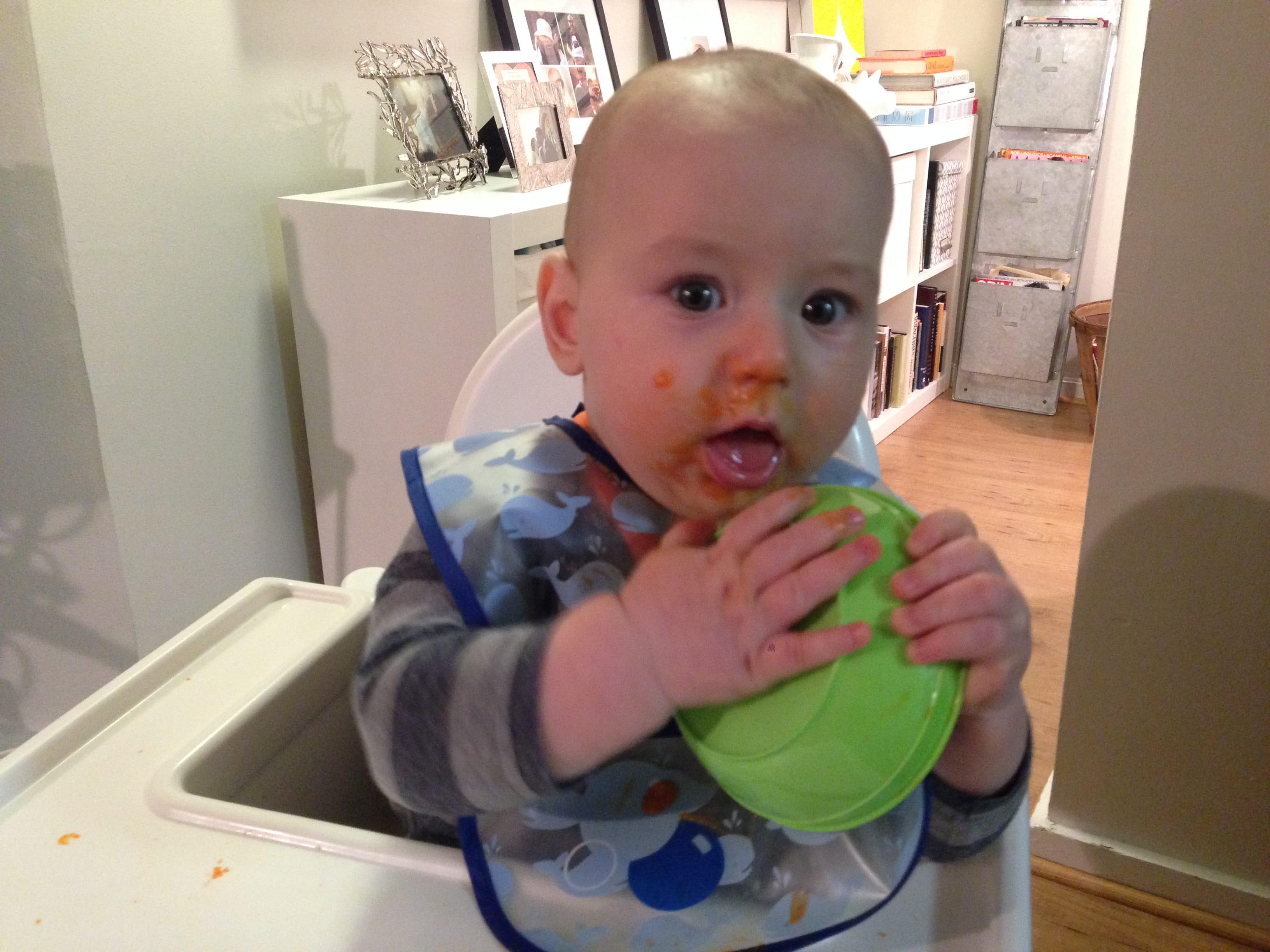 baby eating yam puree