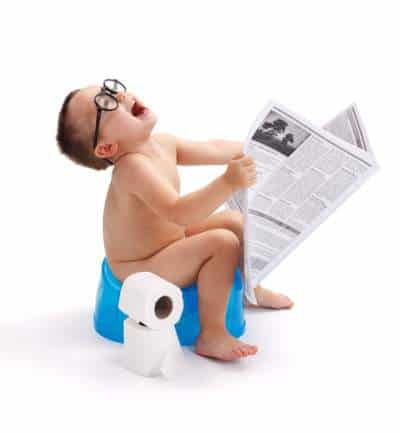 potty training baby with glasses and paper
