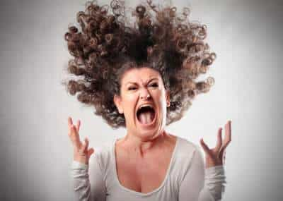 screaming woman crazy hair