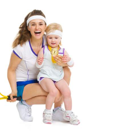 sporty mom with baby