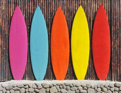 surfboards against a wall