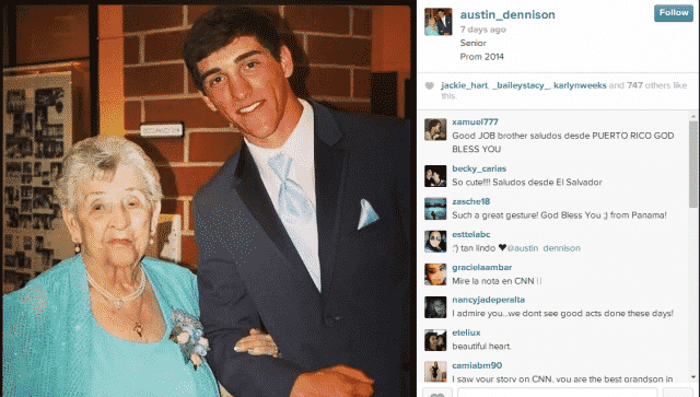 teen takes great grandma to the prom close up photo
