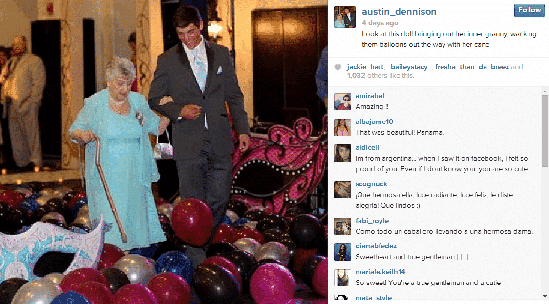 teen takes great grandma to the prom