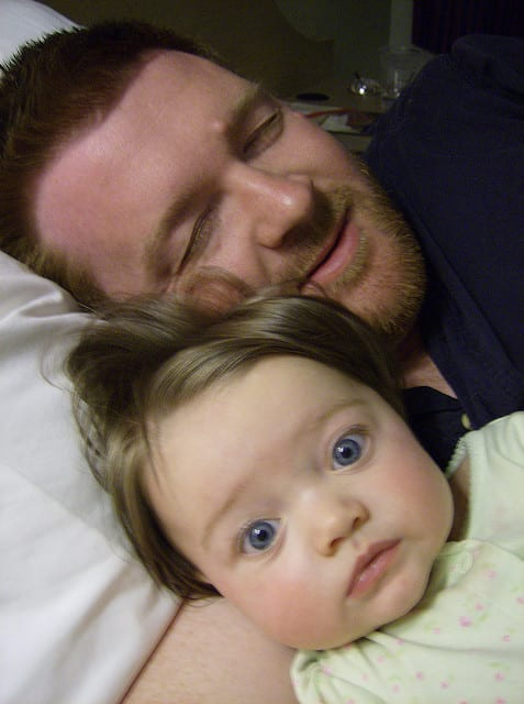 baby co sleeping with daddy