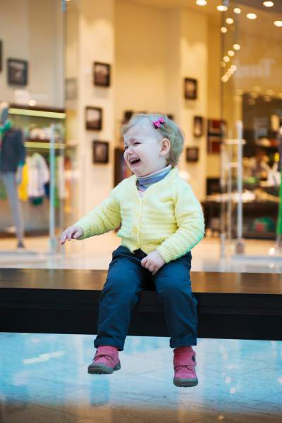crying toddler at the mall