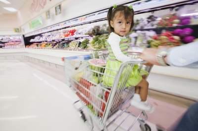 little girl in shopping cart