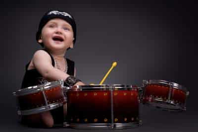 rock star baby with drums