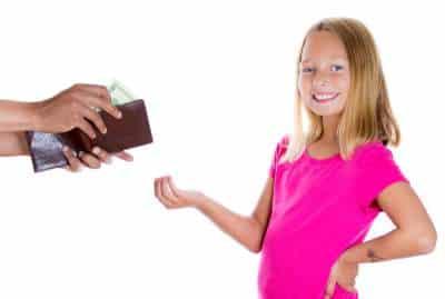 spoiled child demanding money