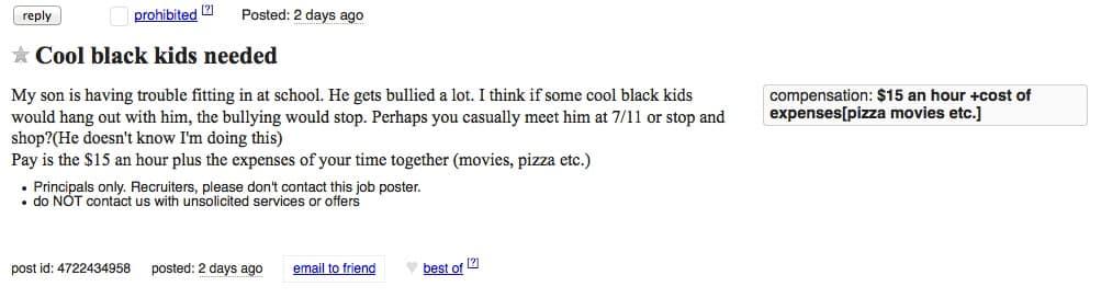 cool black kids craigslist ad