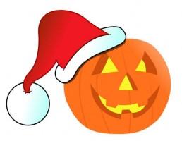 halloween pumpkin wearing santa hat