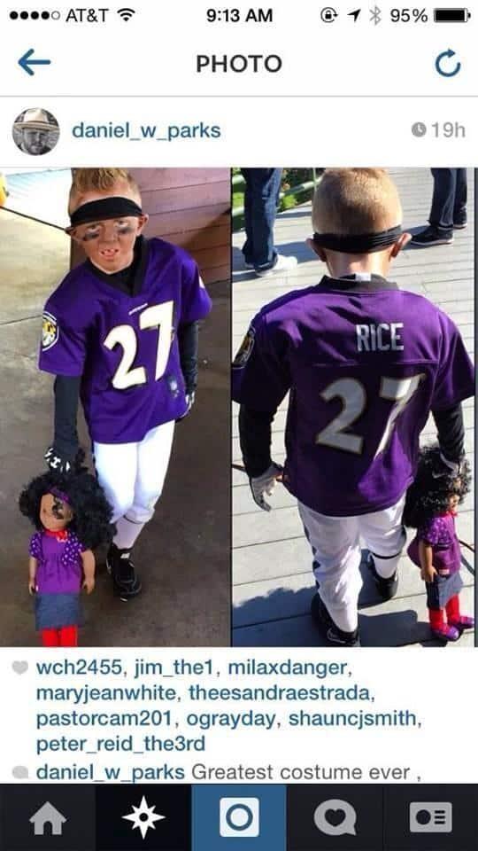 kid wearing ray rice costume