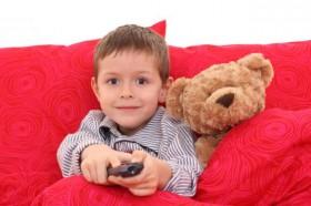 little boy pajamas watching TV