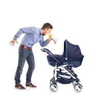 man yelling at stroller