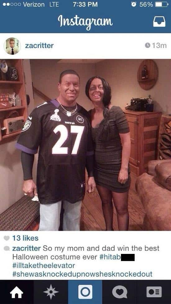 parents wearing ray rice costume