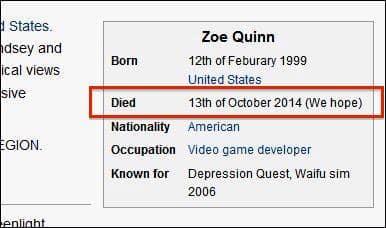 zoe quinn wikipedia hack death threat