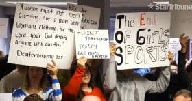 minnesota transgender policy protest sign