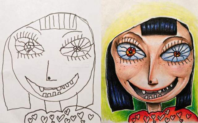 kids doodles plus dad s coloring creates the most amazing artwork