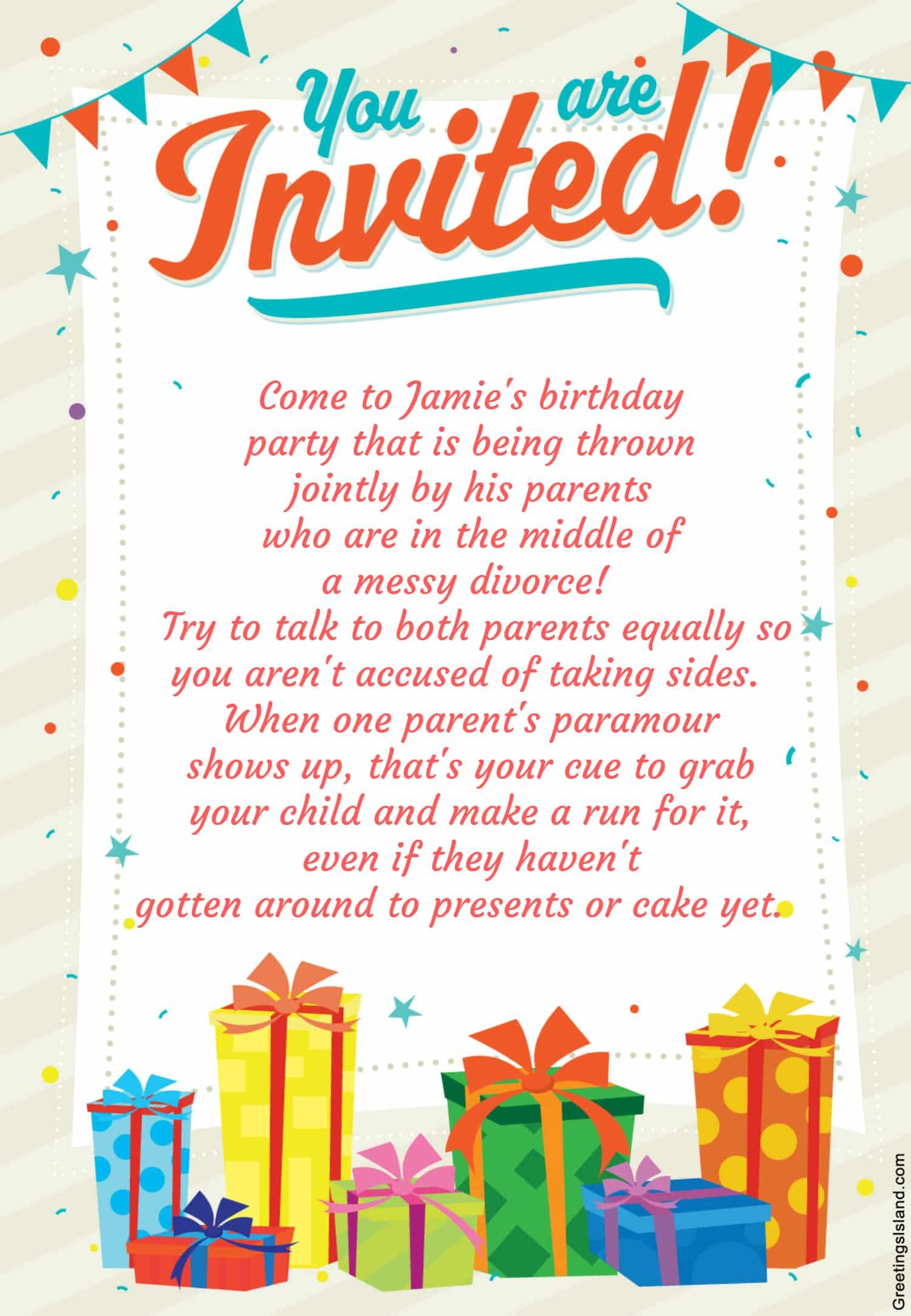 Honest Birthday Party Invitations